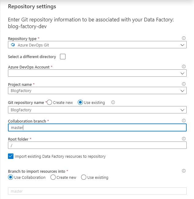Figuur 3 Invullen van de repository settings